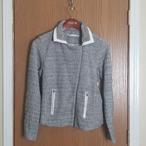Grey State Gray Faux Leather Tweed Moto Jacket L